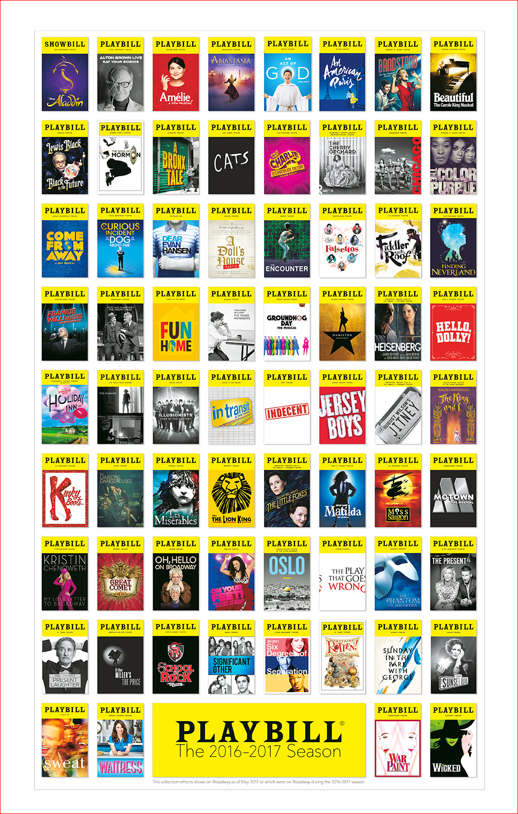 Broadway Season Playbill Poster 2016 2017 Posters
