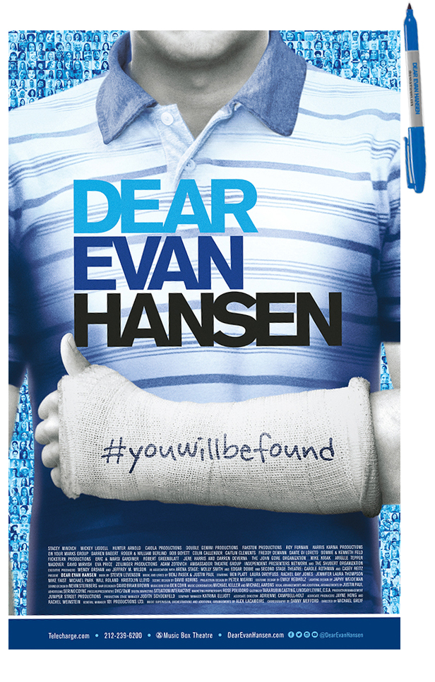 Dear Evan Hansen The Broadway Musical Poster With Sharpie