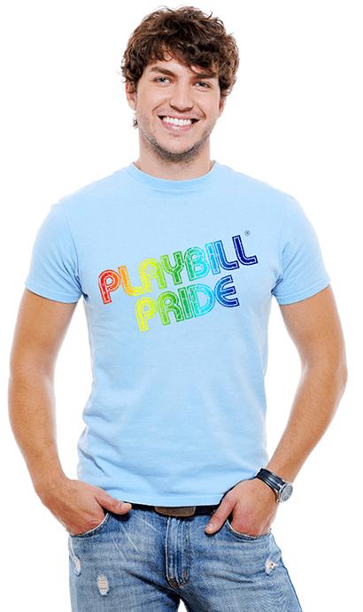 e82bb723e5012 Playbill Pride - Retro Rainbow Logo Light Blue T-Shirt - T-Shirts and  Hoodies | PlaybillStore.com