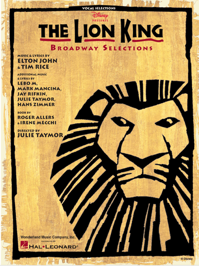 The Lion King Broadway Souvenir Edition Piano Vocal Selections Songbook The Lion King Playbillstore Com