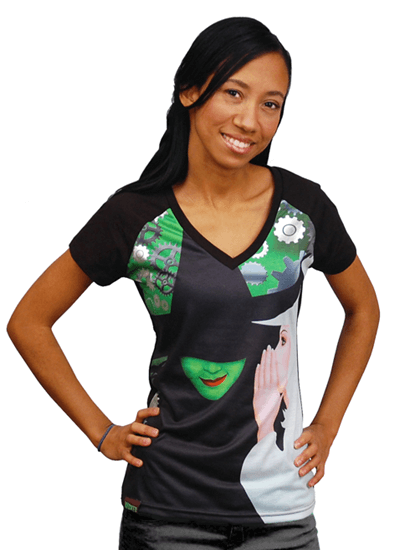 Wicked The Broadway Musical Ladies Logo Vee Neck T Shirt