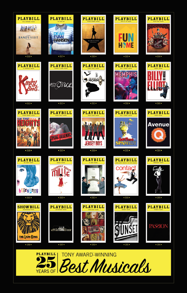 Playbill 25 Years Of Tony Award Winning Best Musicals Poster Playbill Merchandise Amp Souvenirs