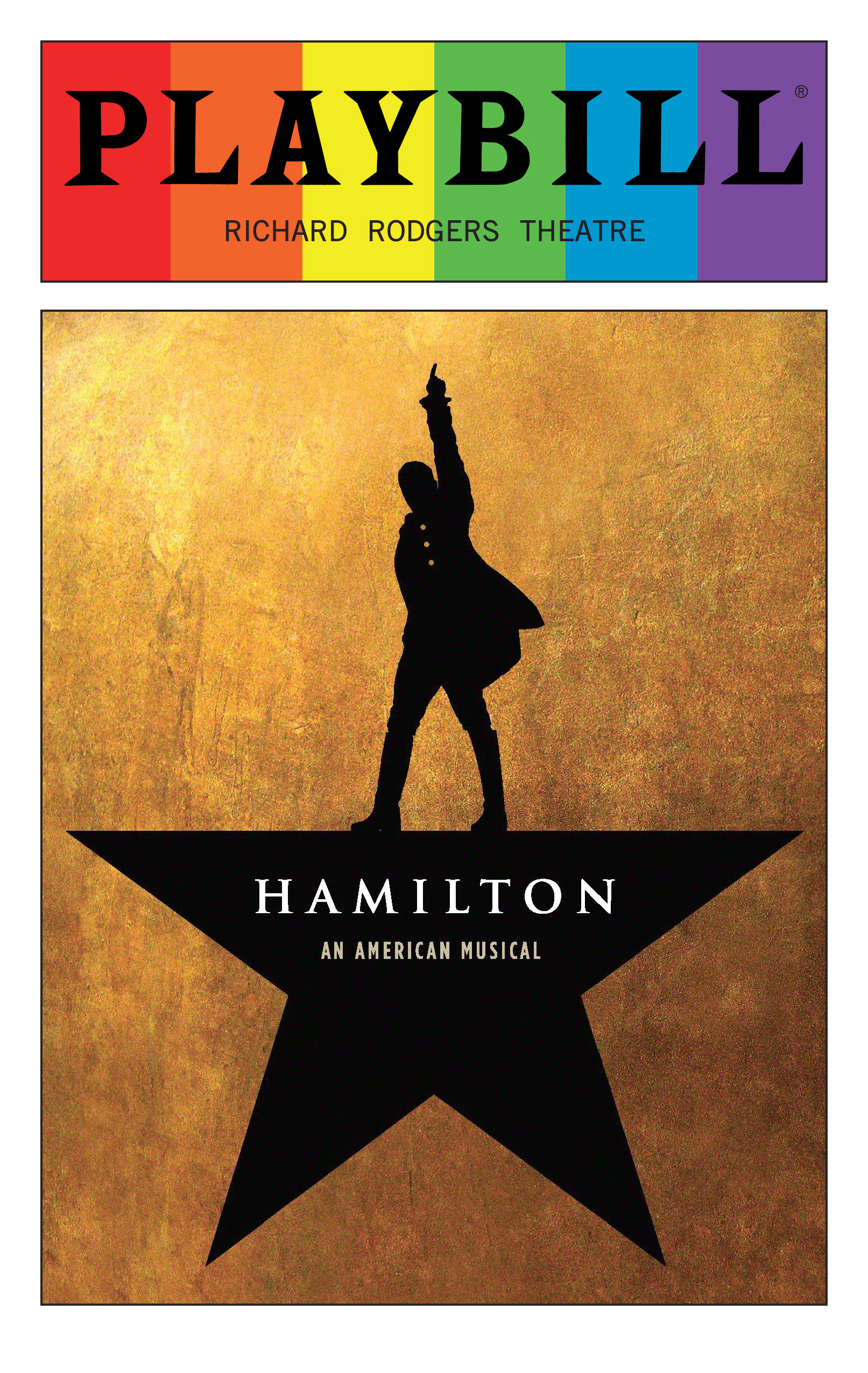 Hamilton June 2016 Playbill With Rainbow Pride Logo Opening Night And Special Event