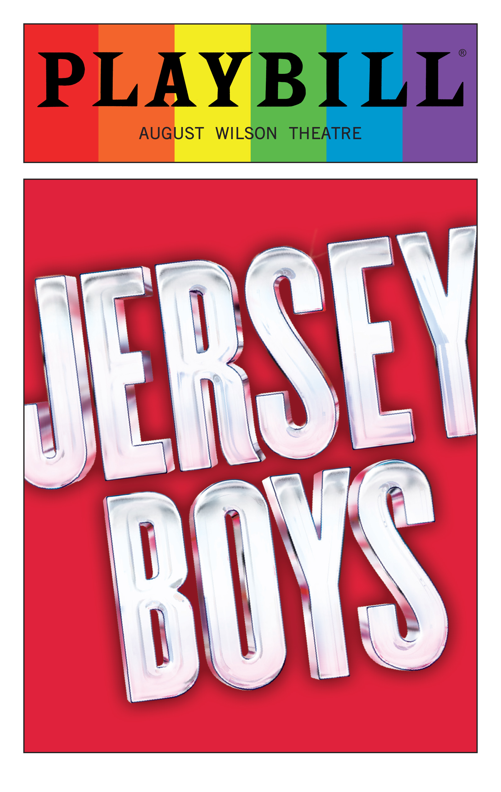 Jersey Boys June 2016 Playbill With Rainbow Pride Logo