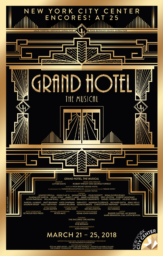 Grand Hotel The Musical Poster 2018 Encores New York