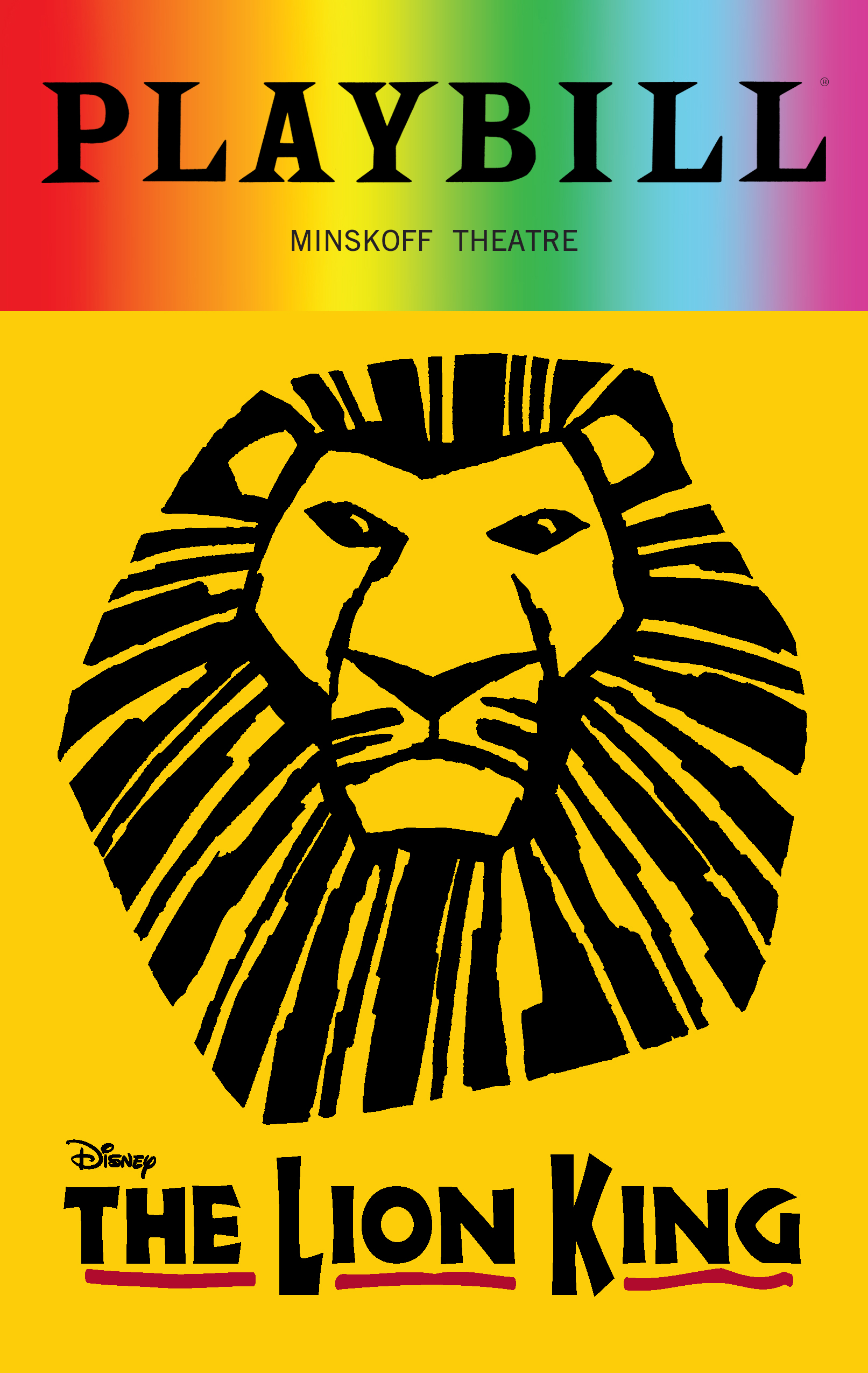 The Lion King June 2018 Playbill With Rainbow Pride Logo