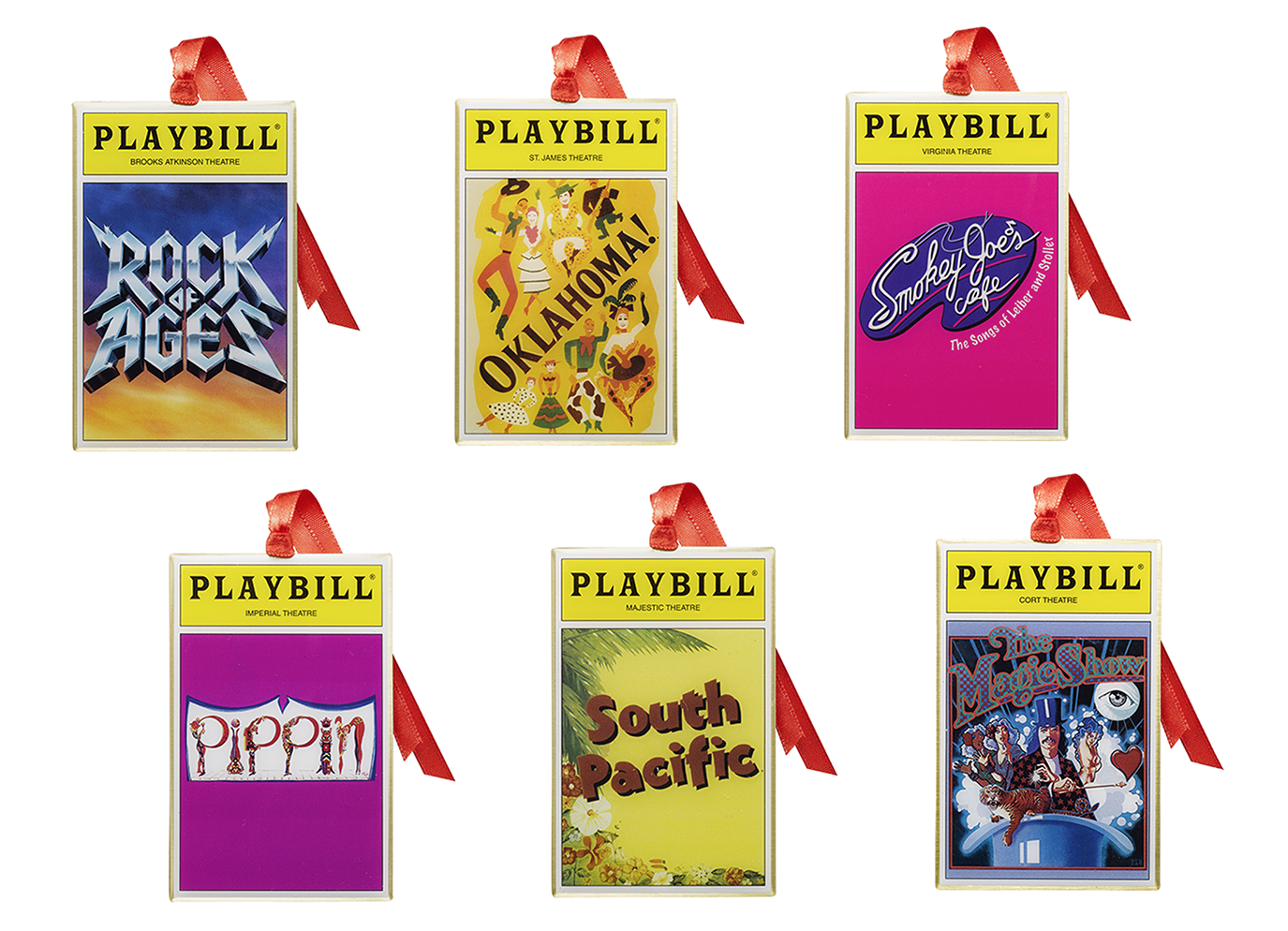 2016 Playbill Ornaments from the Broadway Cares Classic Collection - Set of Six