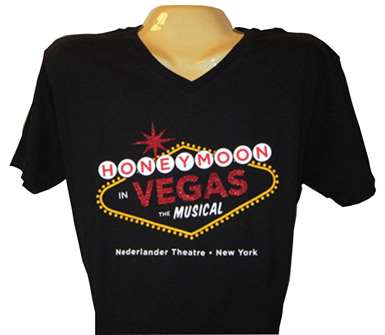 Honeymoon in Vegas the Broadway Musical - Glitter Logo Vee Neck T-Shirt