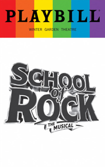 School of Rock - June 2017 Playbill with Rainbow Pride Logo