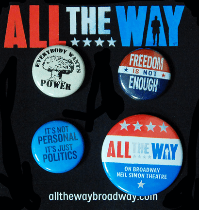 All the Way the Broadway Play - Set of Four Buttons on Souvenir Card