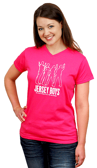 Jersey Boys the Broadway Musical - Ladies Hot Pink Silhouette V-Neck Tee