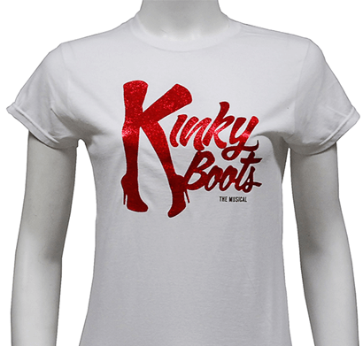 Kinky Boots the Broadway Musical - Ladies White Glitter Logo T-Shirt