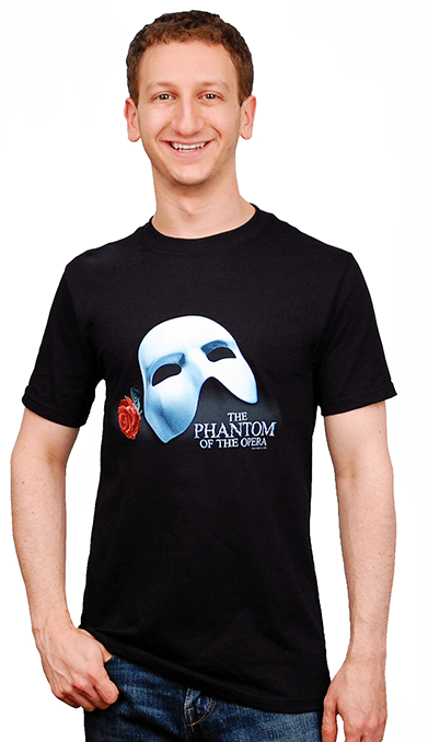 Phantom of the Opera the Broadway Musical - Mask and Rose T-Shirt