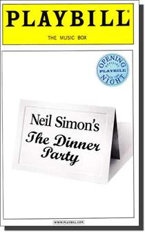 The Dinner Party Limited Edition Official Opening Night Playbill