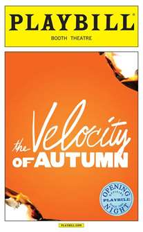 The Velocity of Autumn Limited Edition Official Opening Night Playbill