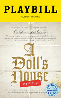 A Dolls House Part 2 Limited Edition Official Opening Night Playbill