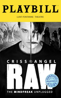 Criss Angel Raw - The Mindfreak Unplugged Limited Edition Official Opening Night Playbill