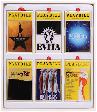 2019 Playbill Ornaments from the Broadway Cares Classic Collection - Set of Six