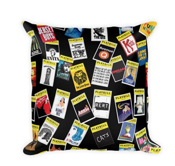 Playbill Throw Pillow - Black