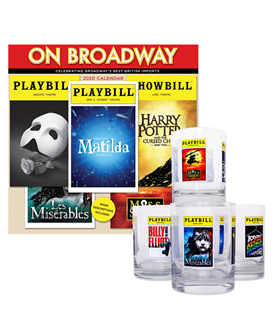 The 2020 On Broadway Calendar and Playbill Glassware Collection Combo