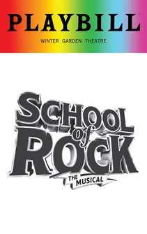 School of Rock - June 2018 Playbill with Rainbow Pride Logo