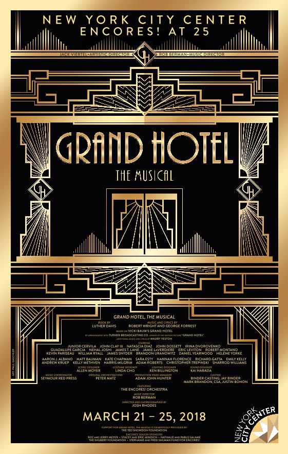 Grand Hotel The Musical Poster 2018 Encores New York City Center Playbillstore Com