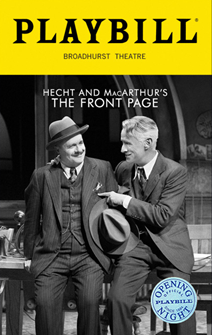 The Front Page Limited Edition Official Opening Night Playbill